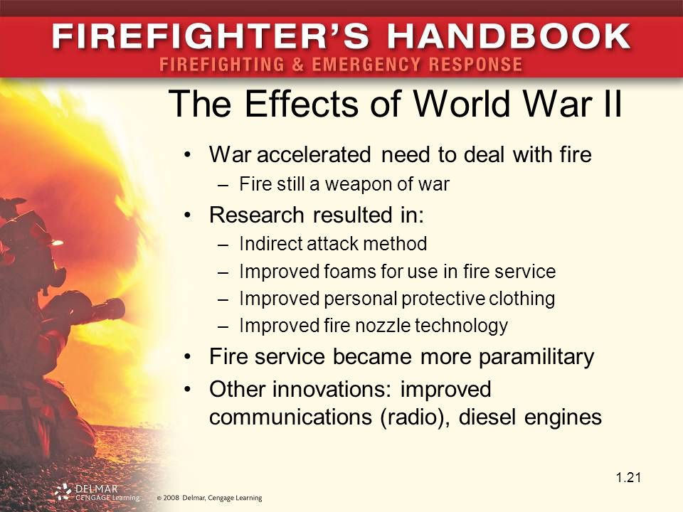 The Effects of World War II War accelerated need to deal with fire –Fire still a weapon of war Research resulted in: –Indirect attack method –Improved