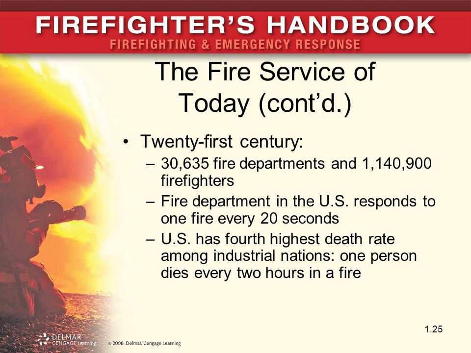The Fire Service of Today (cont'd.) Twenty-first century: –30,635 fire departments and 1,140,900 firefighters –Fire department in the U.S. responds to