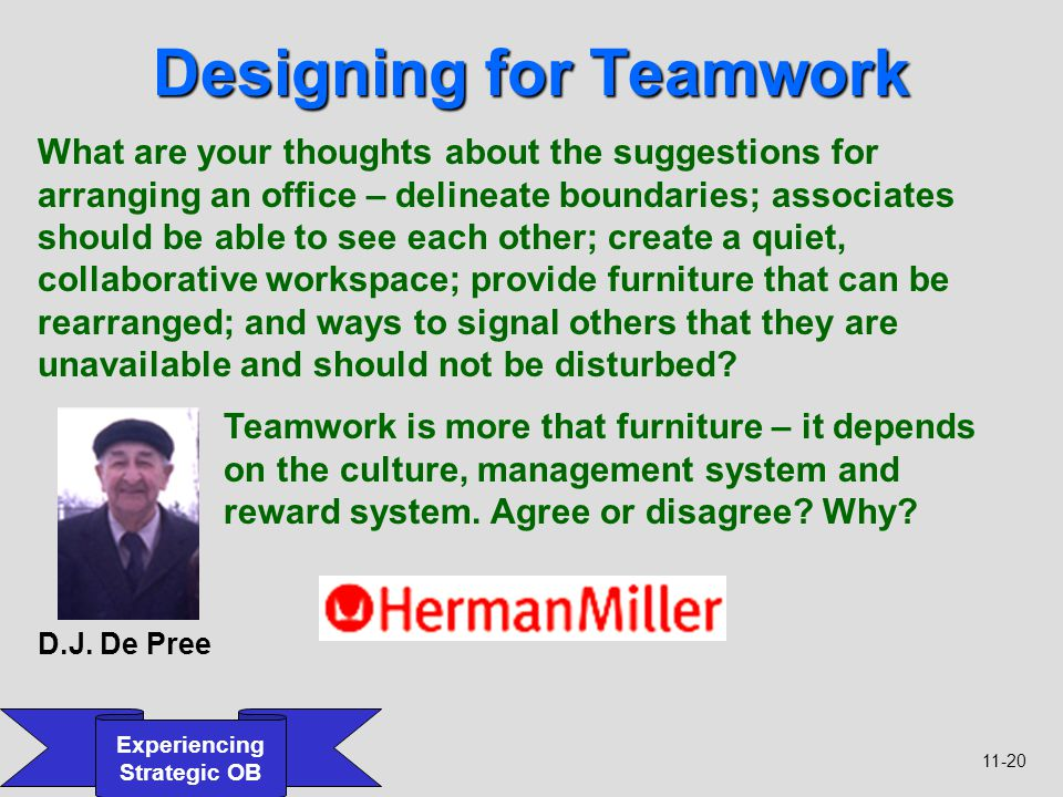 11-20 Experiencing Strategic OB Designing for Teamwork What are your thoughts about the suggestions for arranging an office – delineate boundaries; as