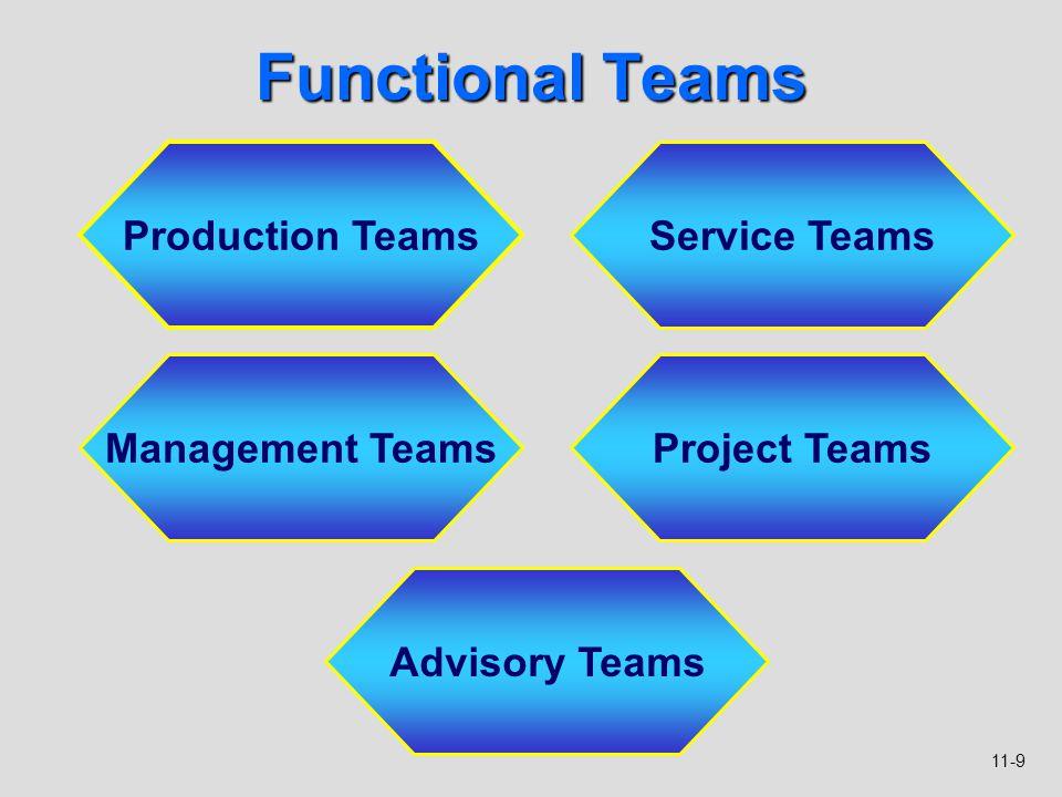 11-9 Functional Teams Production Teams Service Teams Management TeamsProject Teams Advisory Teams