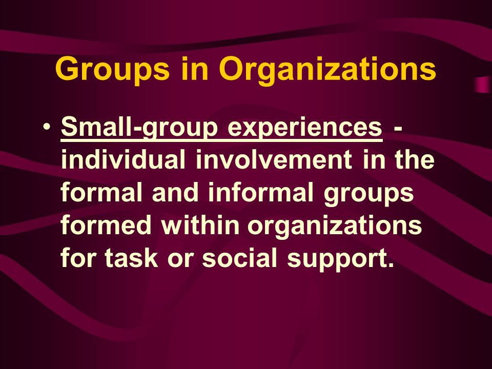Groups in Organizations Small Group Experiences –Group – a collection of more than two persons who perceive themselves as a group, possess a common fate, have organizational structure, and communicate over time to achieve personal and group goals (Baird 1977)