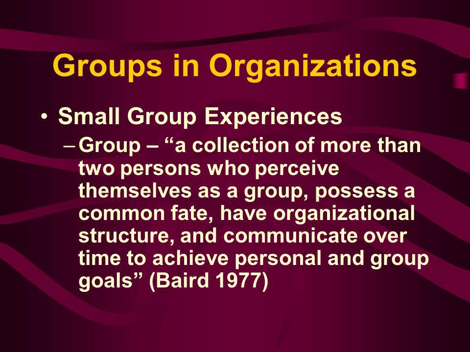Fundamentals of Organizational Communication Groups in Organizations Chapter Six