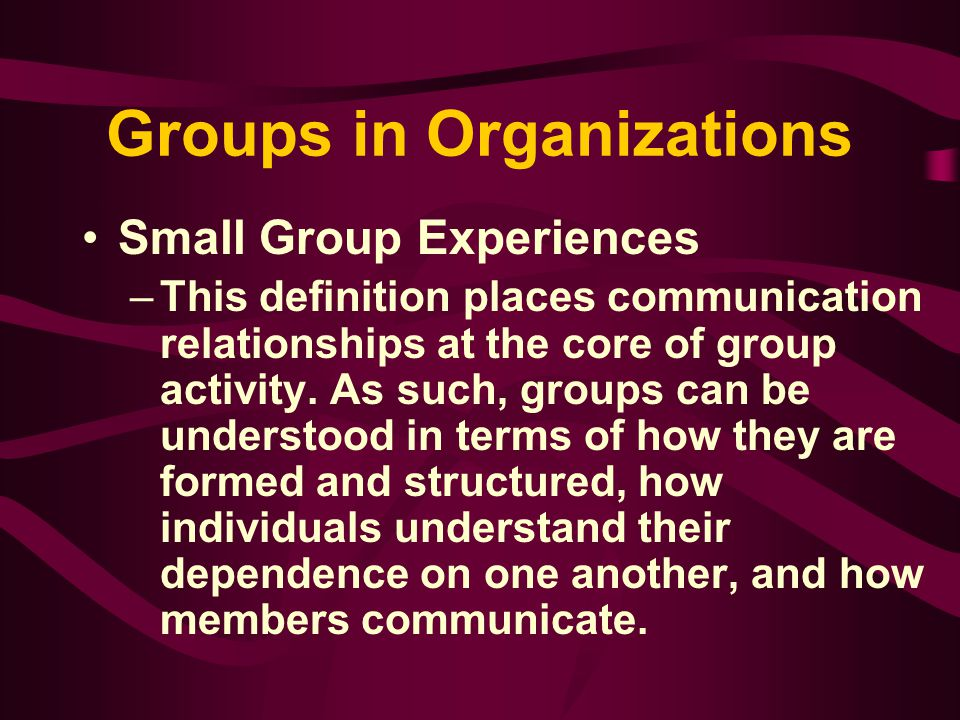 Group Development Self-centered roles - communication roles that support individuals' goals and may or may not be compatible with overall group goals and relationships.