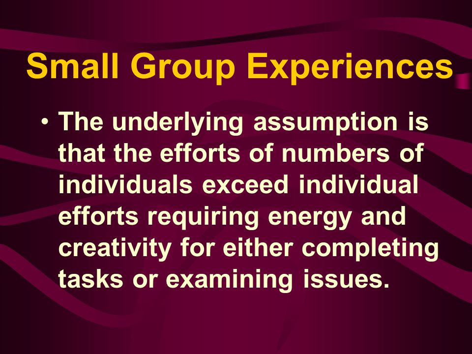 Types of Groups Focus groups - collections of individuals who have familiarity with a problem or issue and are asked in a somewhat nonstructured format to describe the issue and make recommendations; formed to discuss problems but not take responsibility for final recommendations or implementation of change.