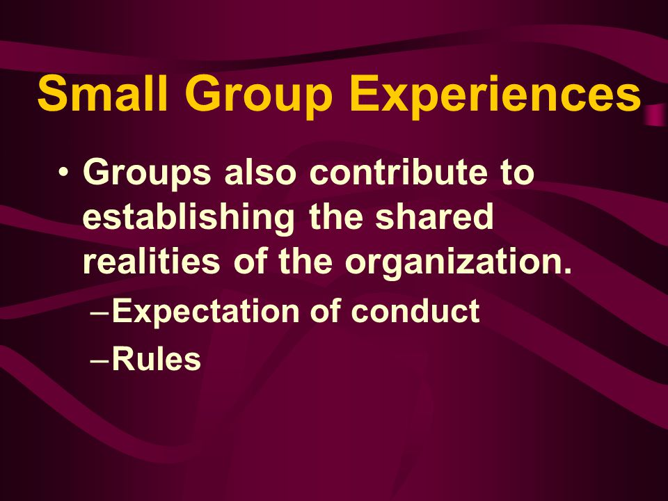 Types of Groups Geographically diverse groups - groups of individuals who form a work team but are separated in distance and linked through technology.