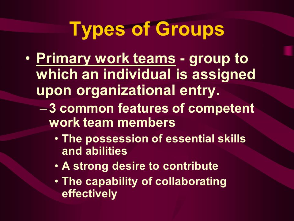 Groups in Organizations Individuals in Groups –Rhetorically sensitive - quality that describes individual acceptance of personal complexity, avoidance of communicative rigidity, interaction consciousness, appreciation of the communicability of ideas, and tolerance for inventional searching.