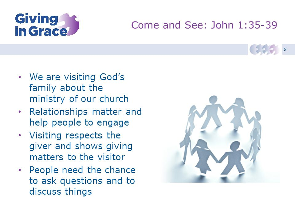 5 Come and See: John 1:35-39 We are visiting God's family about the ministry of our church Relationships matter and help people to engage Visiting res