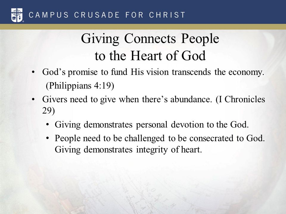 Perspective: Giving Connects People to the Heart of God God's people need to give, no matter what their financial circumstances are.