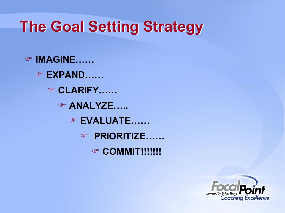 The Goal Setting Strategy  IMAGINE……  EXPAND……  CLARIFY……  ANALYZE…..  EVALUATE……  PRIORITIZE……  COMMIT!!!!!!!