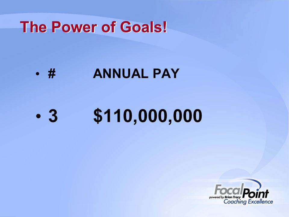The Power of Goals! #ANNUAL PAY 3$110,000,000