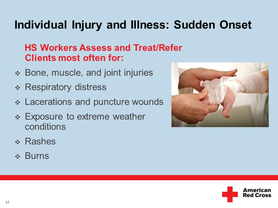 Individual Injury and Illness: Sudden Onset HS Workers Assess and Treat/Refer Clients most often for:  Bone, muscle, and joint injuries  Respiratory distress  Lacerations and puncture wounds  Exposure to extreme weather conditions  Rashes  Burns 17