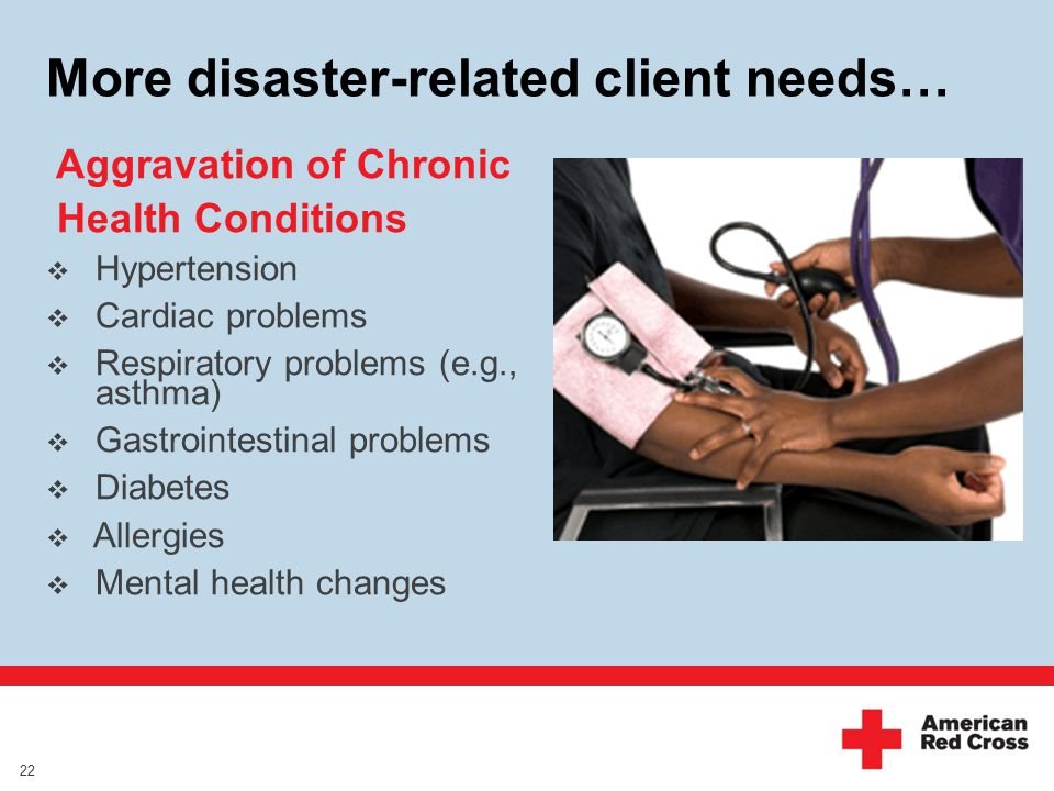 More disaster-related client needs… Aggravation of Chronic Health Conditions  Hypertension  Cardiac problems  Respiratory problems (e.g., asthma)  Gastrointestinal problems  Diabetes  Allergies  Mental health changes 22