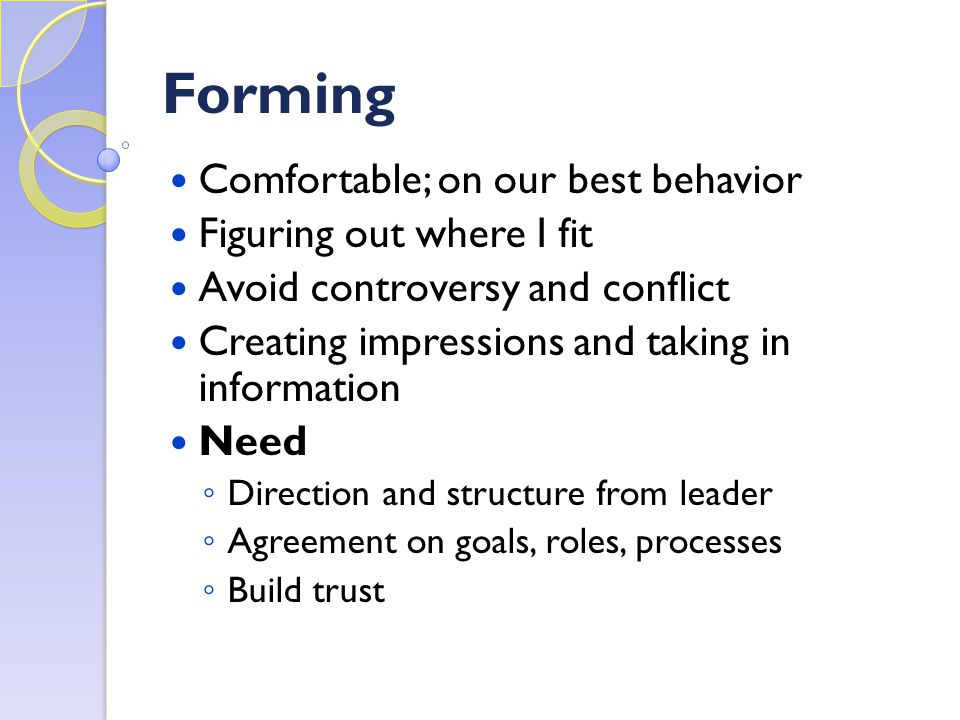 Forming Comfortable; on our best behavior Figuring out where I fit Avoid controversy and conflict Creating impressions and taking in information Need ◦ Direction and structure from leader ◦ Agreement on goals, roles, processes ◦ Build trust