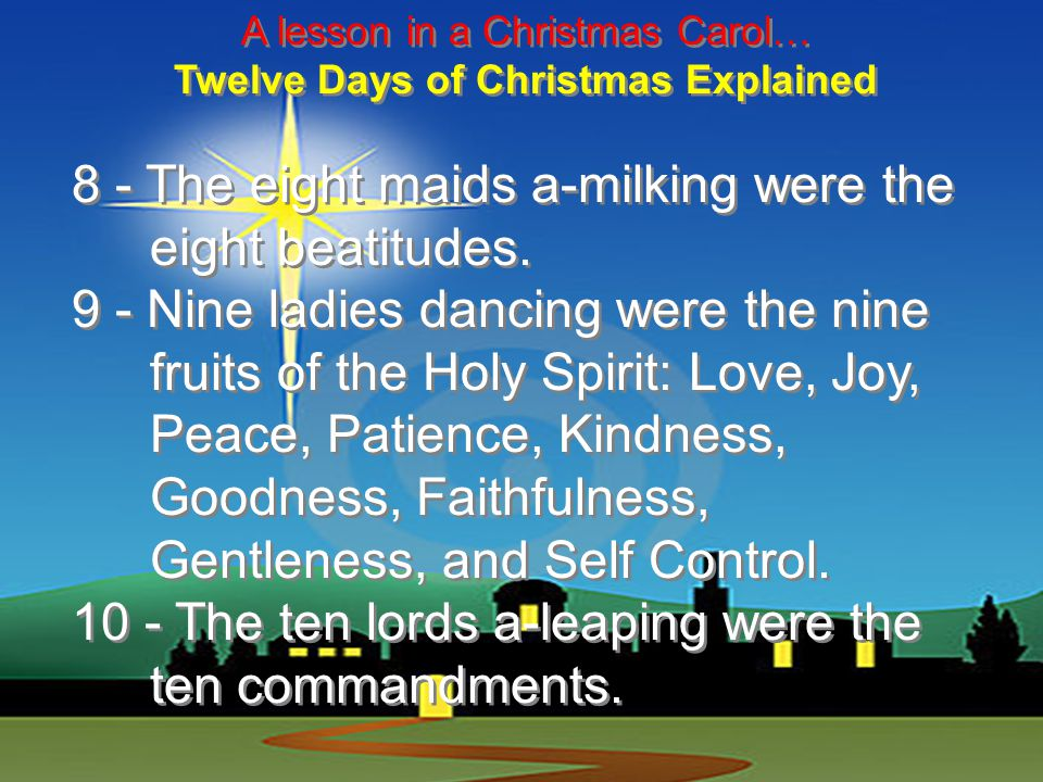 A lesson in a Christmas Carol… Twelve Days of Christmas Explained 5 - The five golden rings recalled the Torah or Law, the first five books of the Old Testament.
