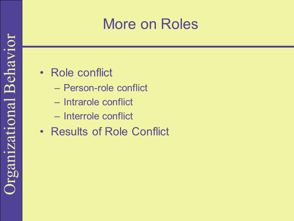 Organizational Behavior More on Roles Role conflict –Person-role conflict –Intrarole conflict –Interrole conflict Results of Role Conflict