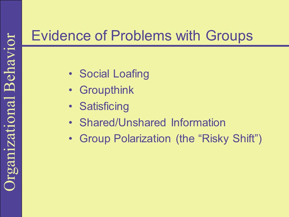 Organizational Behavior Evidence of Problems with Groups Social Loafing Groupthink Satisficing Shared/Unshared Information Group Polarization (the Risky Shift )