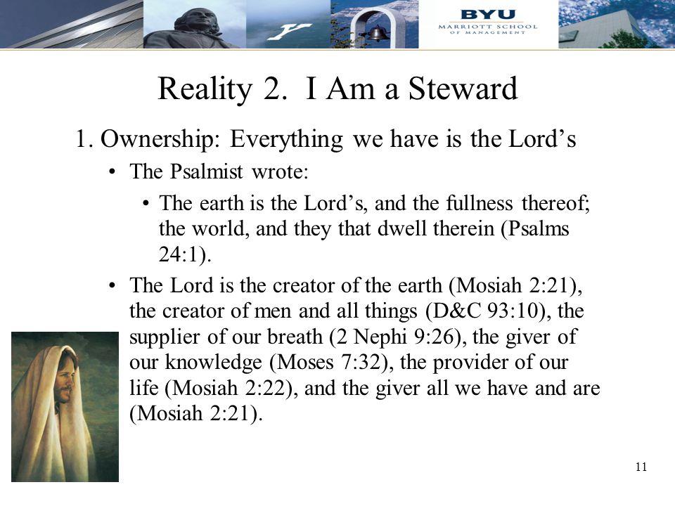 11 Reality 2. I Am a Steward 1.