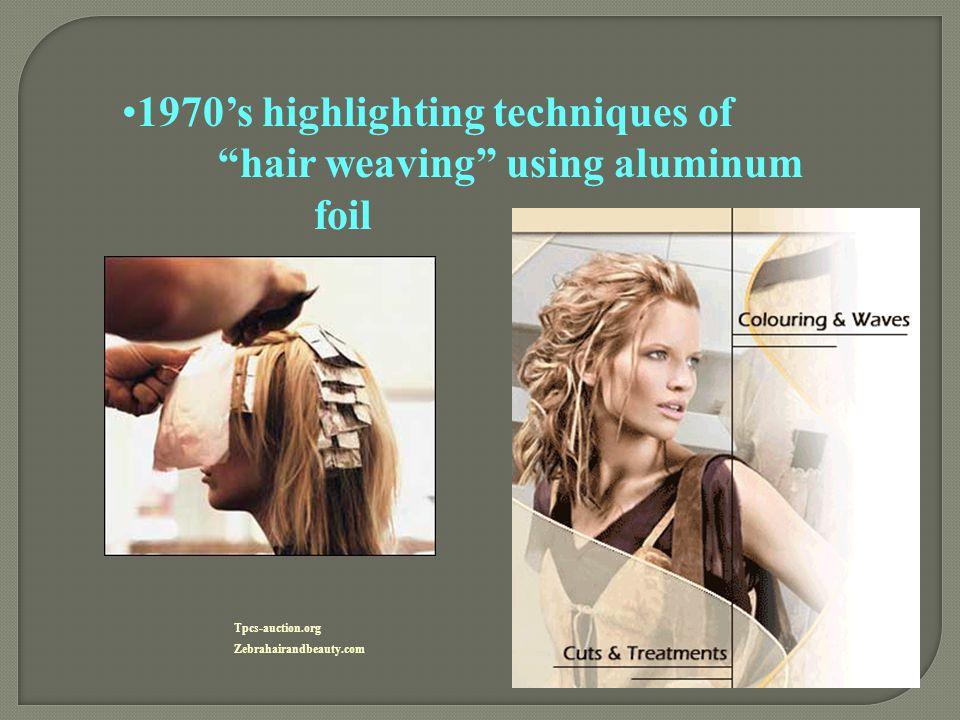 "1970's highlighting techniques of ""hair weaving"" using aluminum foil Tpcs-auction.org Zebrahairandbeauty.com"
