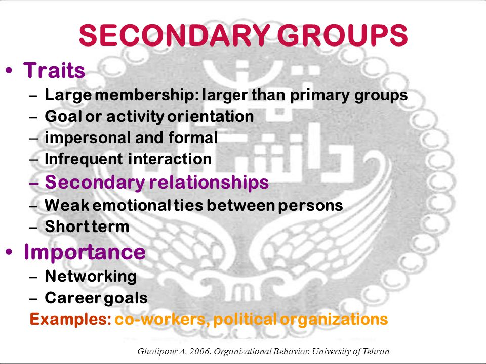 SECONDARY GROUPS Traits –Large membership: larger than primary groups –Goal or activity orientation –impersonal and formal –Infrequent interaction –Se