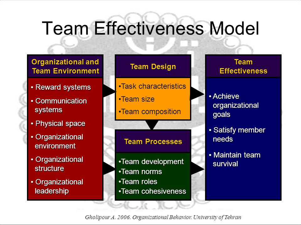 Gholipour A. 2006. Organizational Behavior. University of Tehran Team Effectiveness Model Task characteristics Team size Team composition Team Design