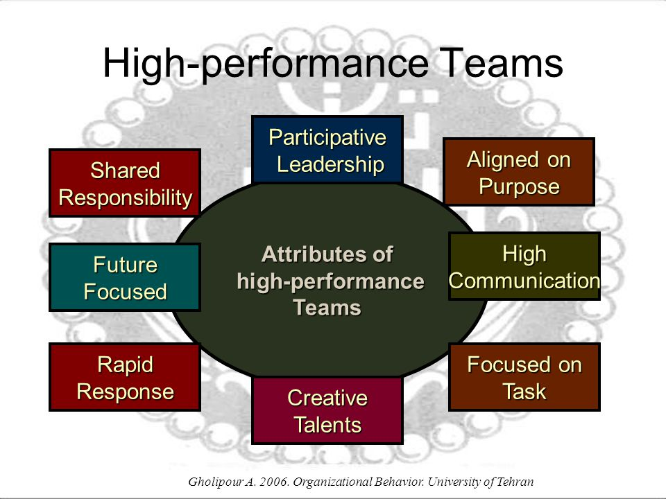 Gholipour A. 2006. Organizational Behavior. University of Tehran Attributes of high-performance high-performanceTeams Participative Leadership Leaders