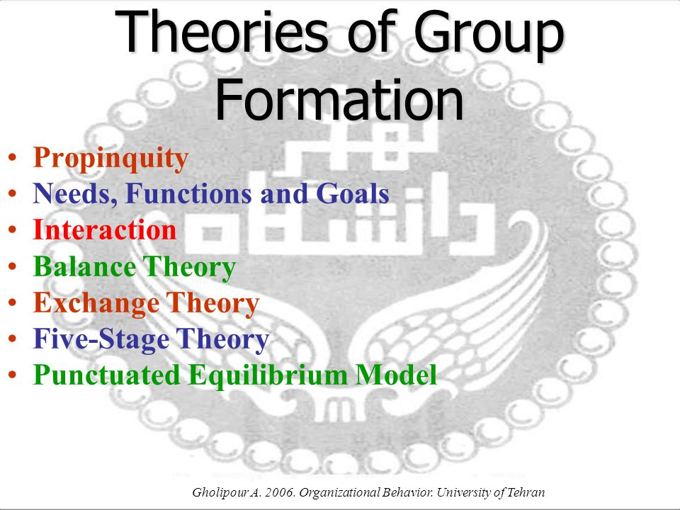 Gholipour A. 2006. Organizational Behavior. University of Tehran Theories of Group Formation Propinquity Needs, Functions and Goals Interaction Balanc