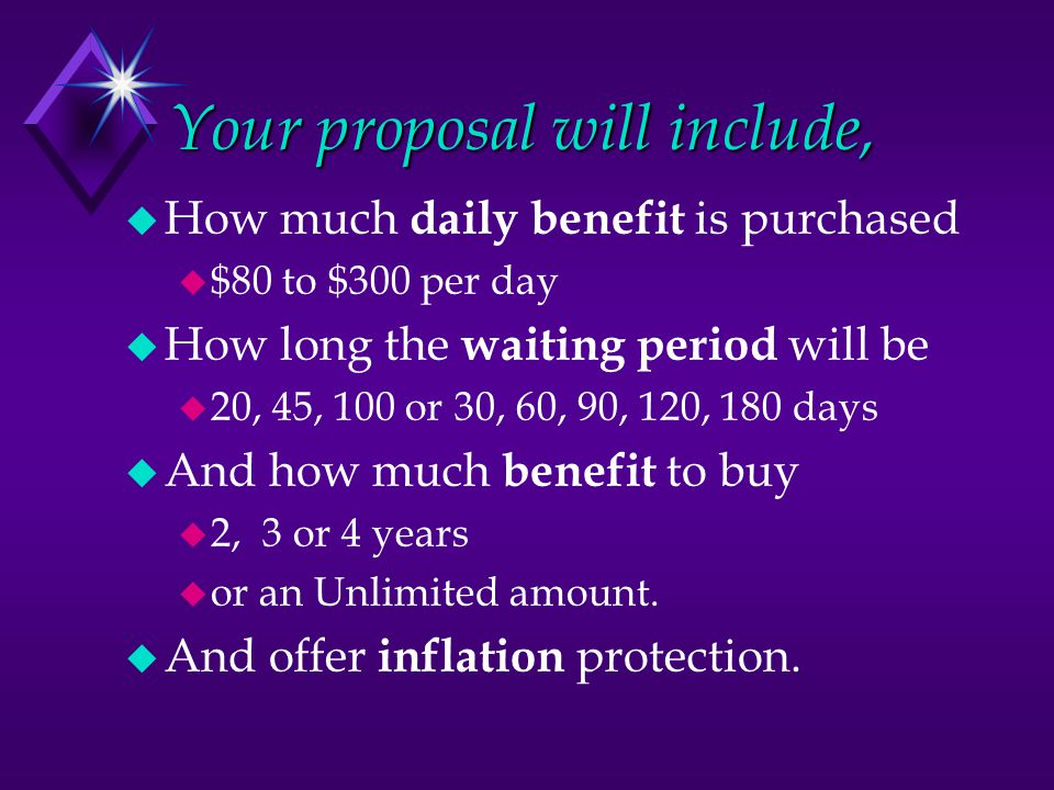 Your proposal will include,  How much daily benefit is purchased  $80 to $300 per day  How long the waiting period will be  20, 45, 100 or 30, 60, 90, 120, 180 days  And how much benefit to buy  2, 3 or 4 years  or an Unlimited amount.