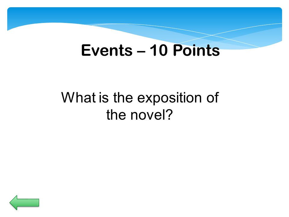 Events – 10 Points What is the exposition of the novel