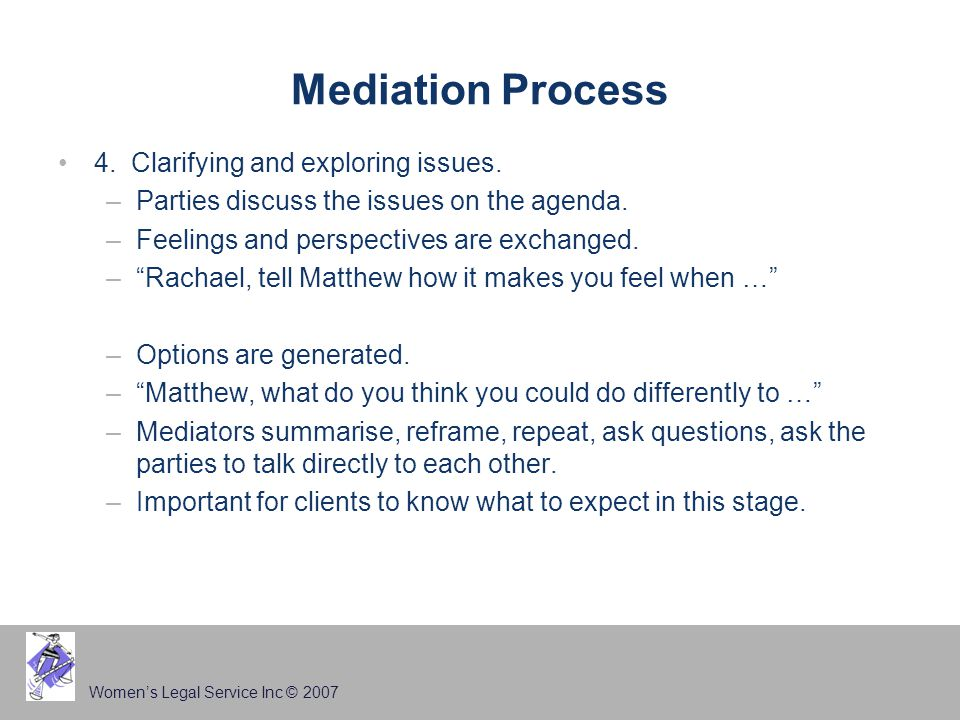 Women's Legal Service Inc © 2007 Mediation Process 4.