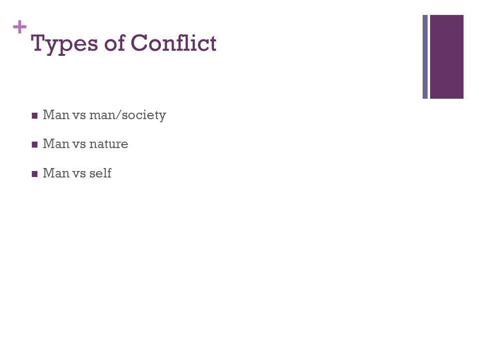 + Types of Conflict Man vs man/society Man vs nature Man vs self