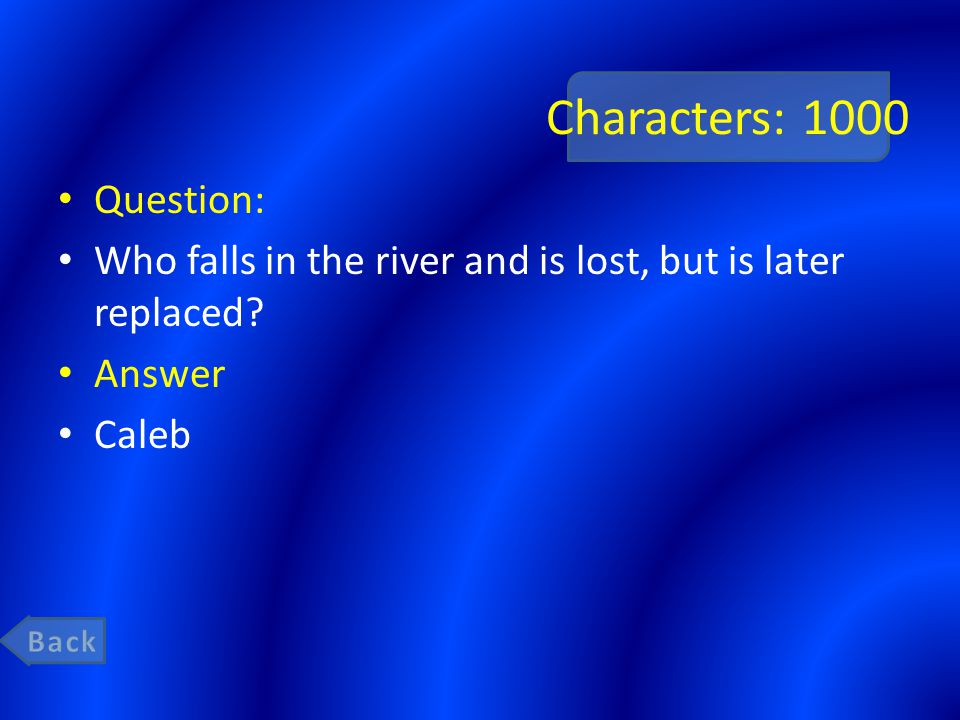 Characters: 1000 Question: Who falls in the river and is lost, but is later replaced Answer Caleb