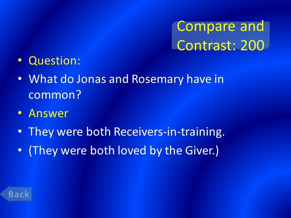 Compare and Contrast: 200 Question: What do Jonas and Rosemary have in common? Answer They were both Receivers-in-training. (They were both loved by t