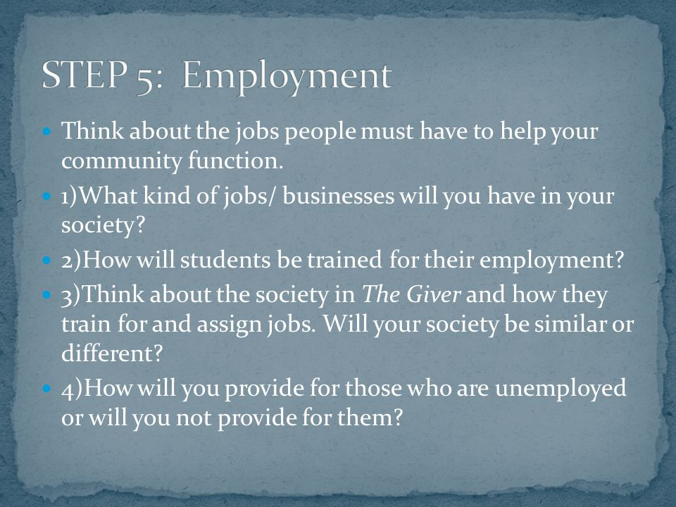 Think about the jobs people must have to help your community function.