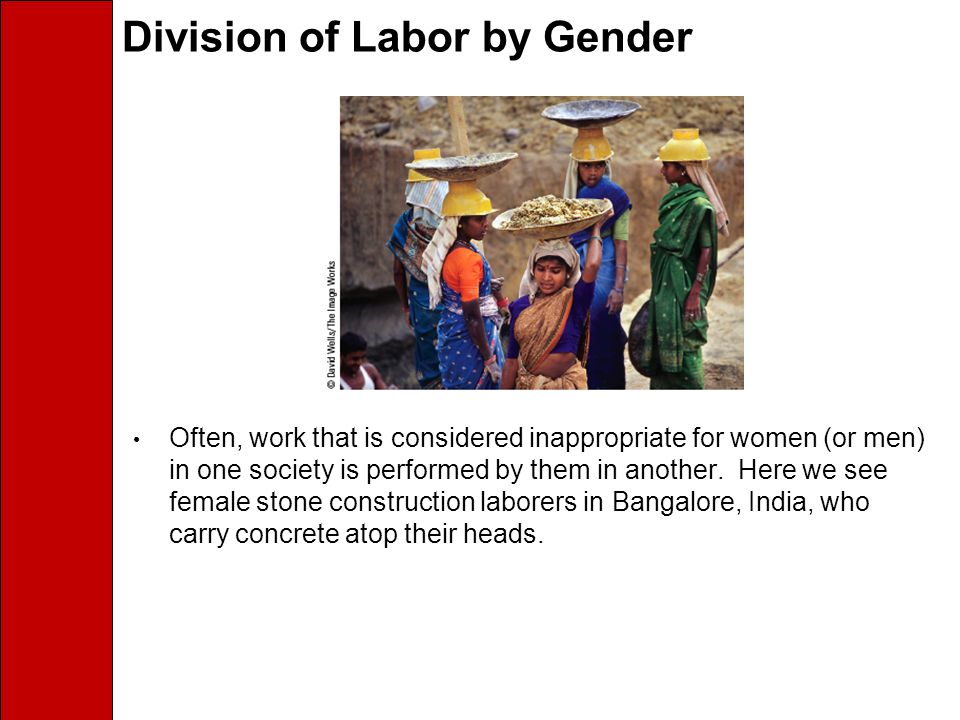 Division of Labor by Gender Often, work that is considered inappropriate for women (or men) in one society is performed by them in another.
