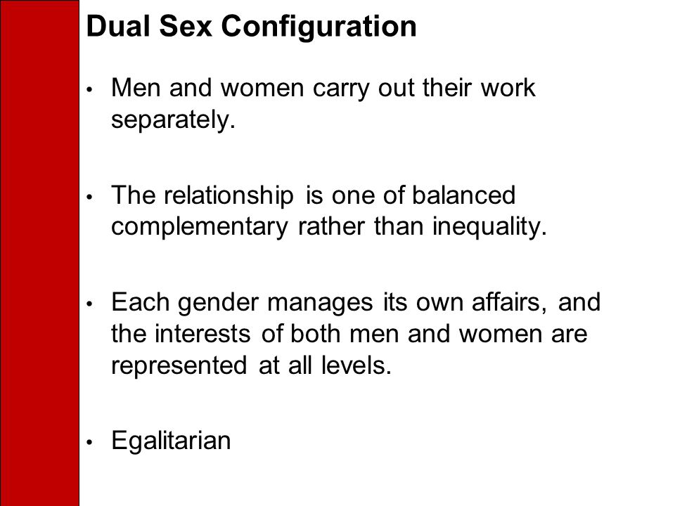 Dual Sex Configuration Men and women carry out their work separately.