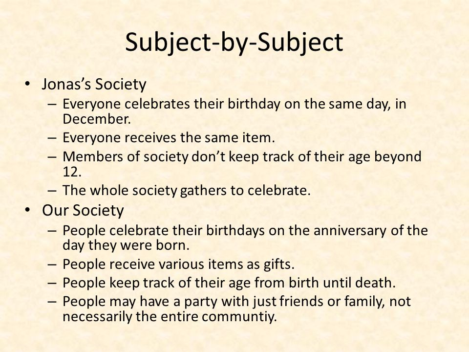 Contrast Paragraph In The Giver, Jonas's Society celebrates birthdays much differently than our society does.