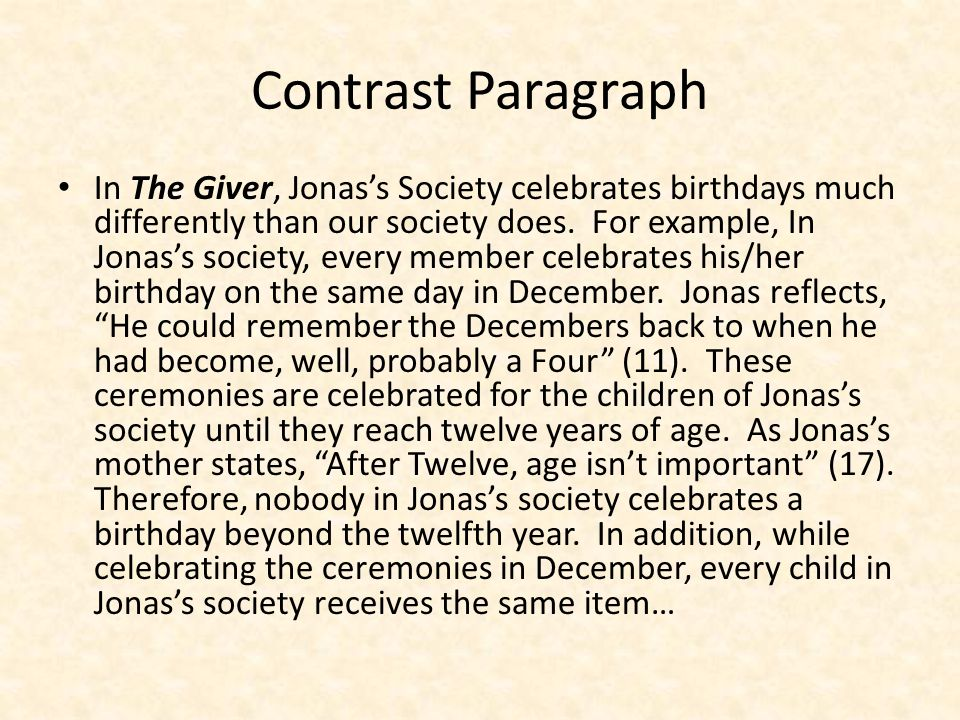 Feature-by-Feature Birthday Customs – Jonas's society – Everyone celebrates their birthday on the same day, in December.
