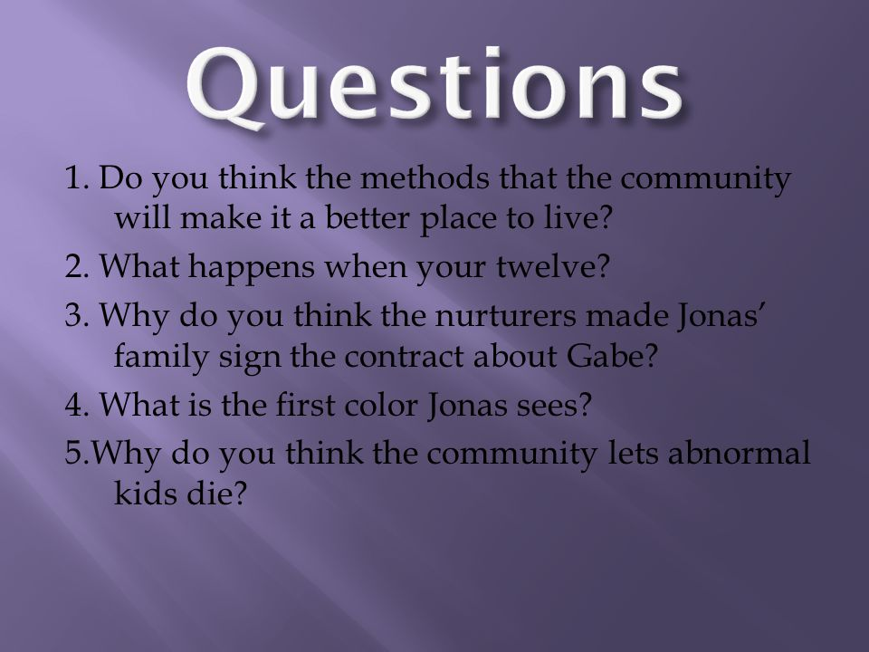 1. Do you think the methods that the community will make it a better place to live.
