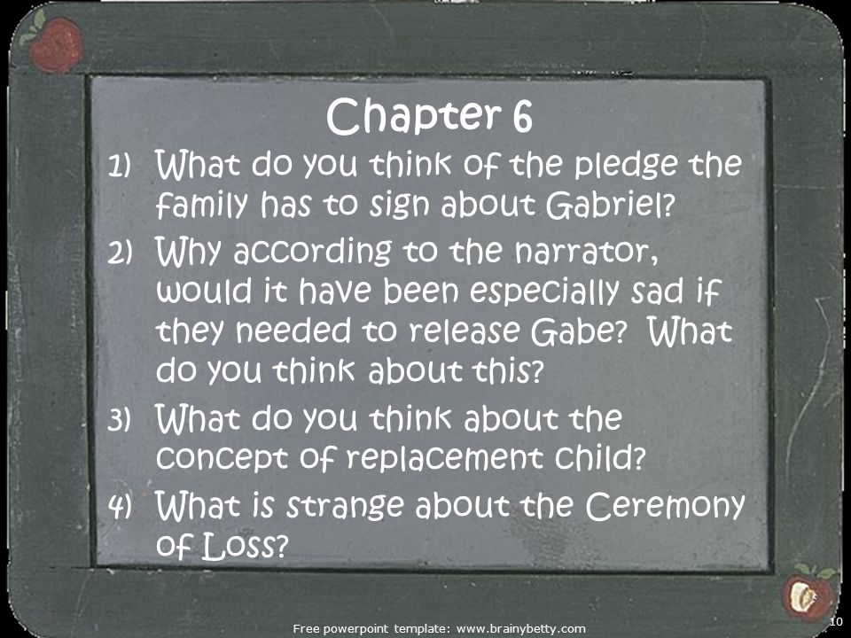 Chapter 6 1)What do you think of the pledge the family has to sign about Gabriel.