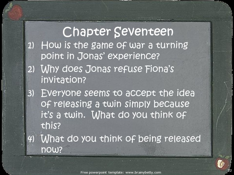 Chapter Seventeen 1)How is the game of war a turning point in Jonas' experience.
