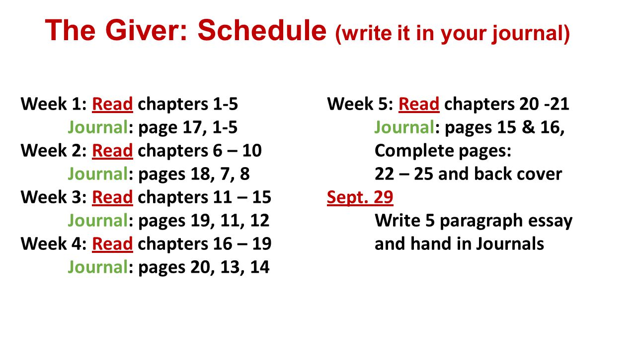 The Giver: Schedule (write it in your journal) Week 1: Read chapters 1-5 Journal: page 17, 1-5 Week 2: Read chapters 6 – 10 Journal: pages 18, 7, 8 Week 3: Read chapters 11 – 15 Journal: pages 19, 11, 12 Week 4: Read chapters 16 – 19 Journal: pages 20, 13, 14 Week 5: Read chapters 20 -21 Journal: pages 15 & 16, Complete pages: 22 – 25 and back cover Sept.