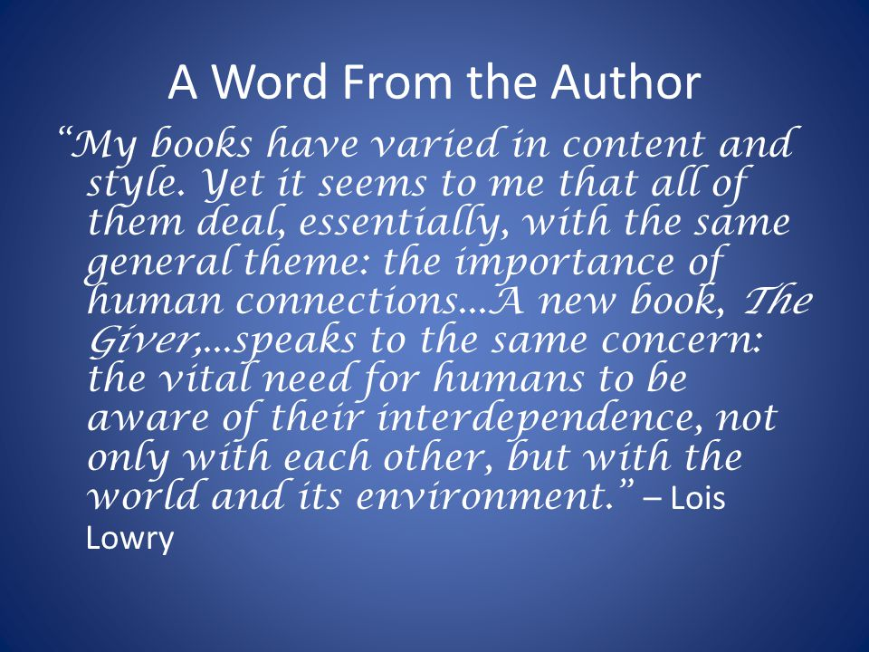 A Word From the Author My books have varied in content and style.