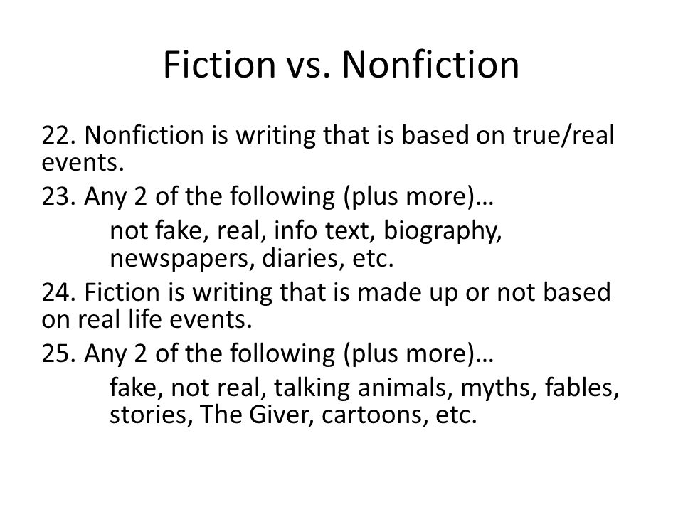 Fiction vs. Nonfiction 22. Nonfiction is writing that is based on true/real events.