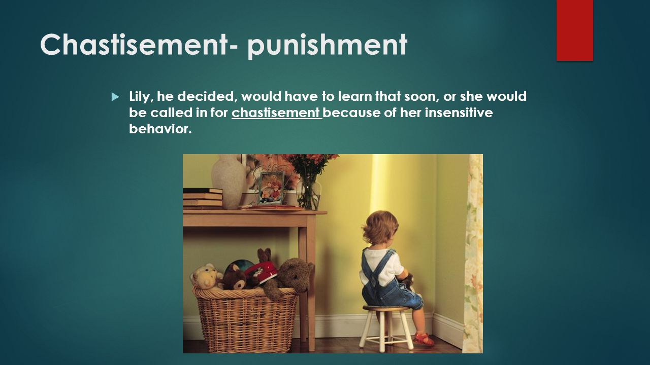 Chastisement- punishment  Lily, he decided, would have to learn that soon, or she would be called in for chastisement because of her insensitive beha