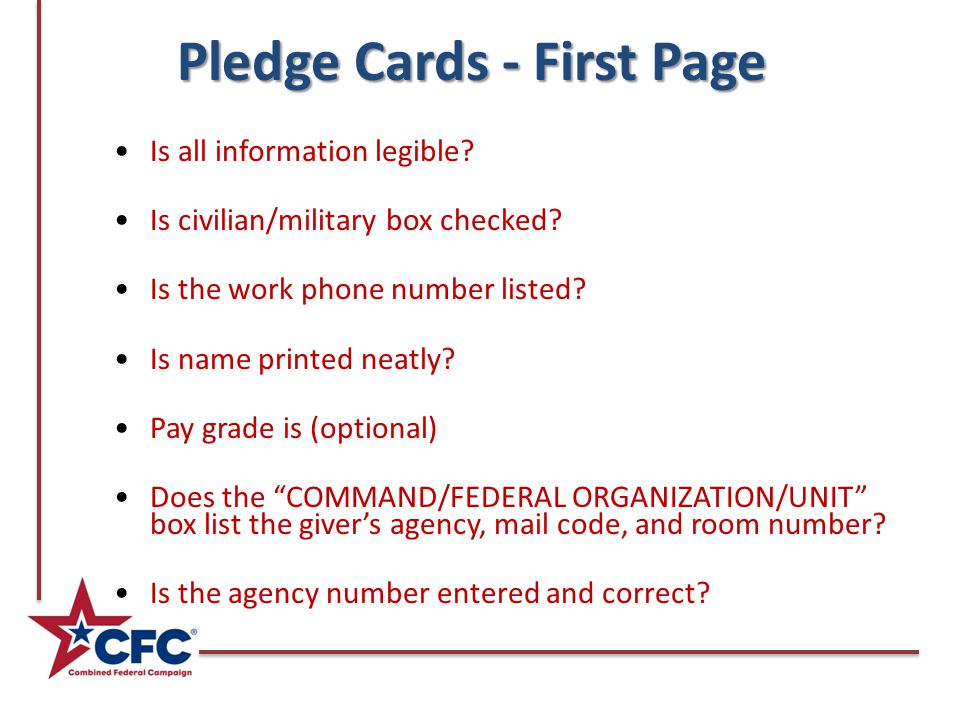 Pledge Cards - First Page Is all information legible.