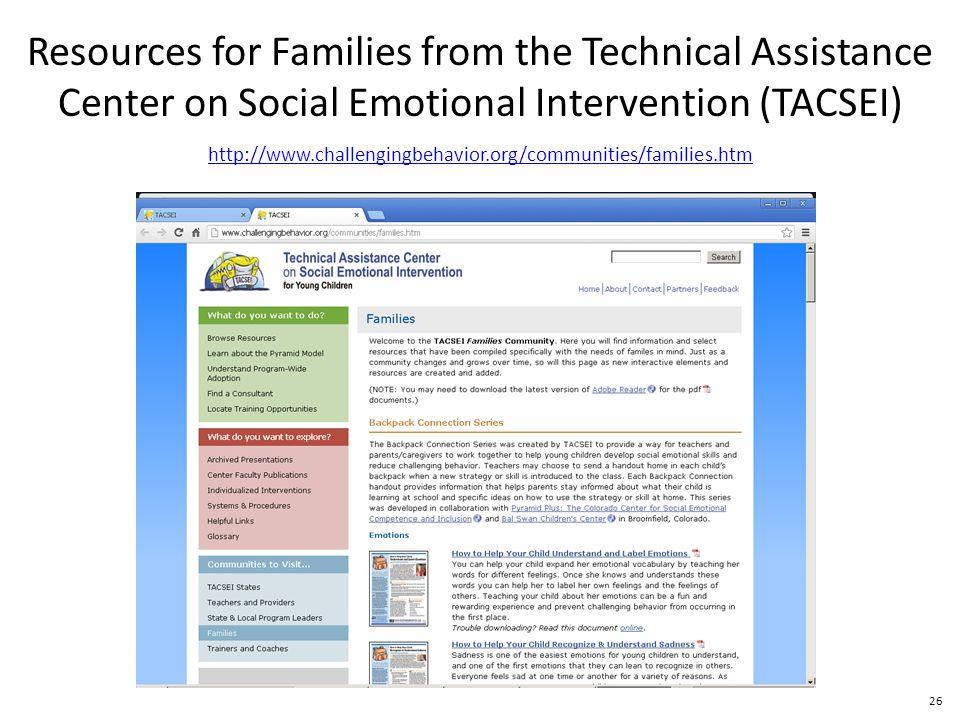 26 http://www.challengingbehavior.org/communities/families.htm Resources for Families from the Technical Assistance Center on Social Emotional Intervention (TACSEI)