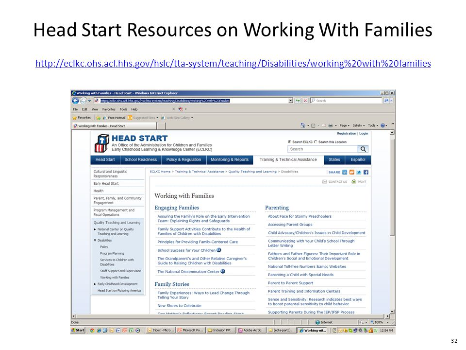 32 http://eclkc.ohs.acf.hhs.gov/hslc/tta-system/teaching/Disabilities/working%20with%20families Head Start Resources on Working With Families