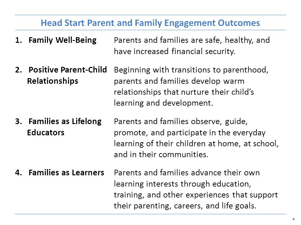 4 Head Start Parent and Family Engagement Outcomes 1.