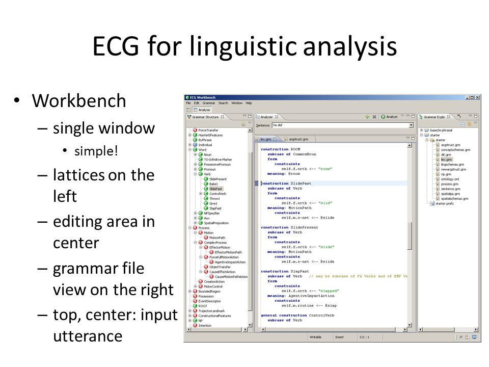 ECG for linguistic analysis Workbench – single window simple.
