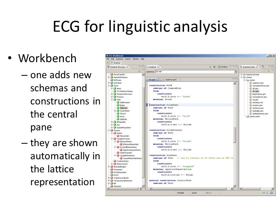 ECG for linguistic analysis Workbench – one adds new schemas and constructions in the central pane – they are shown automatically in the lattice representation